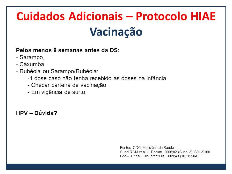 Cuidados Adicionais – Protocolo HIAE Vacinação Pelos menos 8 semanas antes da DS: - Sarampo, - Caxumba - Rubéola ou Sarampo/Rubéola: -1 dose caso não