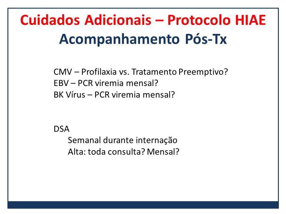 Cuidados Adicionais – Protocolo HIAE Acompanhamento Pós-Tx CMV – Profilaxia vs. Tratamento Preemptivo? EBV – PCR viremia mensal? BK Vírus – PCR viremi