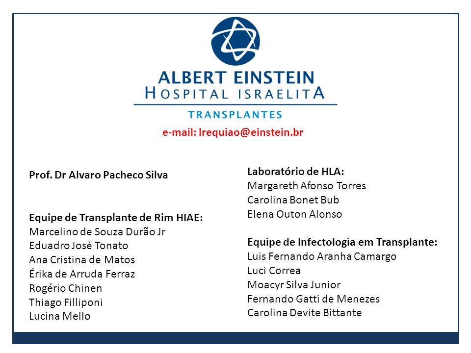 Prof. Dr Alvaro Pacheco Silva Equipe de Transplante de Rim HIAE: Marcelino de Souza Durão Jr Eduadro José Tonato Ana Cristina de Matos Érika de Arruda