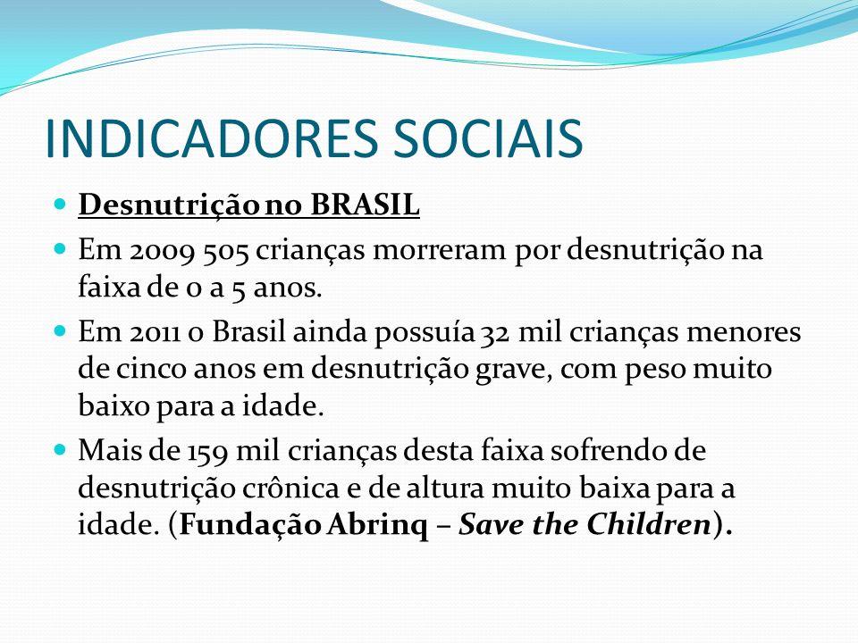 INDICADORES SOCIAIS Desnutrição no BRASIL Em 2009 505 crianças morreram por desnutrição na faixa de 0 a 5 anos. Em 2011 o Brasil ainda possuía 32 mil