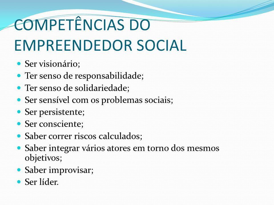 COMPETÊNCIAS DO EMPREENDEDOR SOCIAL Ser visionário; Ter senso de responsabilidade; Ter senso de solidariedade; Ser sensível com os problemas sociais;