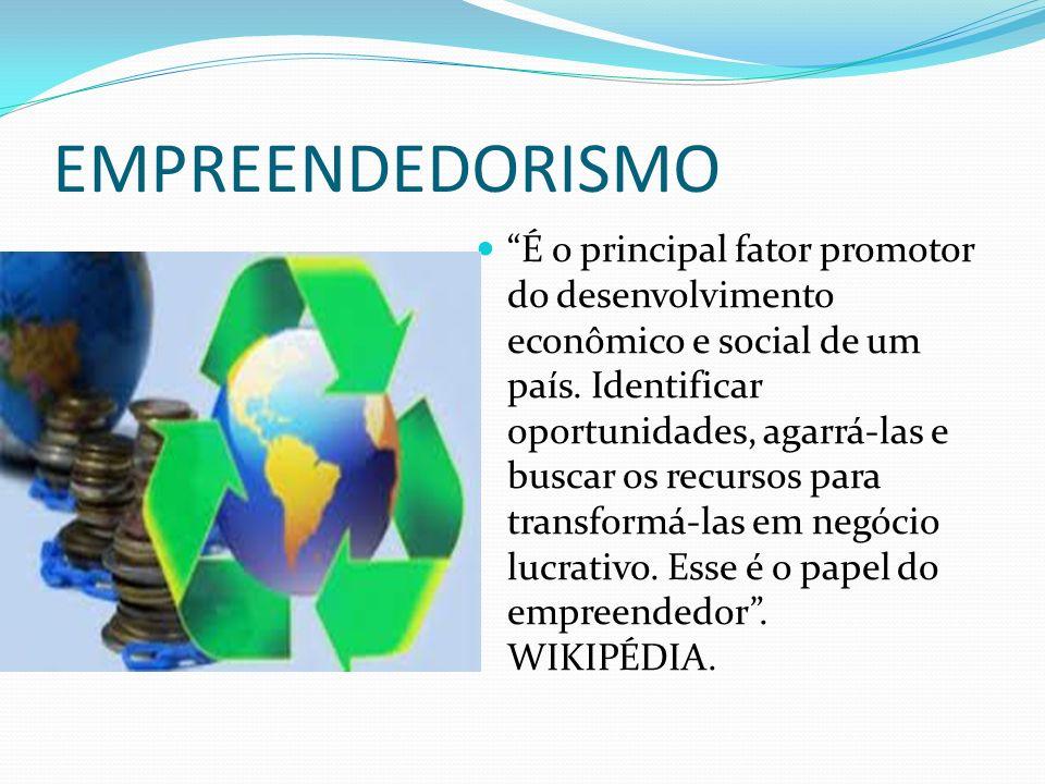 EMPREENDEDORISMO É o principal fator promotor do desenvolvimento econômico e social de um país. Identificar oportunidades, agarrá-las e buscar os recu