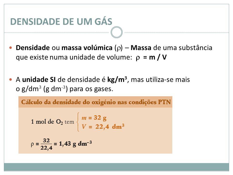 DENSIDADE DE UM GÁS Densidade ou massa volúmica ( ) – Massa de uma substância que existe numa unidade de volume: = m / V A unidade SI de densidade é k