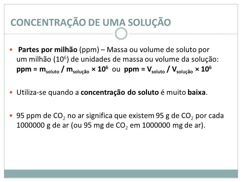 CONCENTRAÇÃO DE UMA SOLUÇÃO Partes por milhão (ppm) – Massa ou volume de soluto por um milhão (10 6 ) de unidades de massa ou volume da solução: ppm =