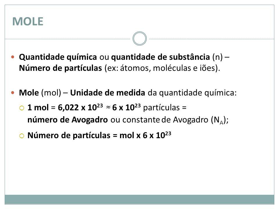 MOLE Quantidade química ou quantidade de substância (n) – Número de partículas (ex: átomos, moléculas e iões). Mole (mol) – Unidade de medida da quant