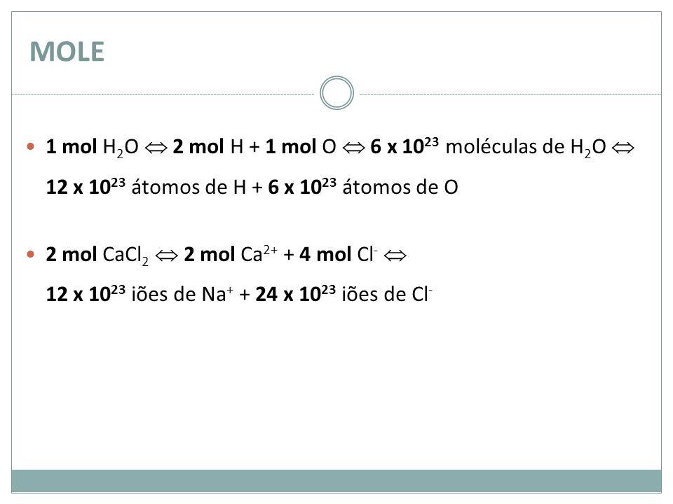 MOLE 1 mol H 2 O 2 mol H + 1 mol O 6 x 10 23 moléculas de H 2 O 12 x 10 23 átomos de H + 6 x 10 23 átomos de O 2 mol CaCl 2 2 mol Ca 2+ + 4 mol Cl - 1