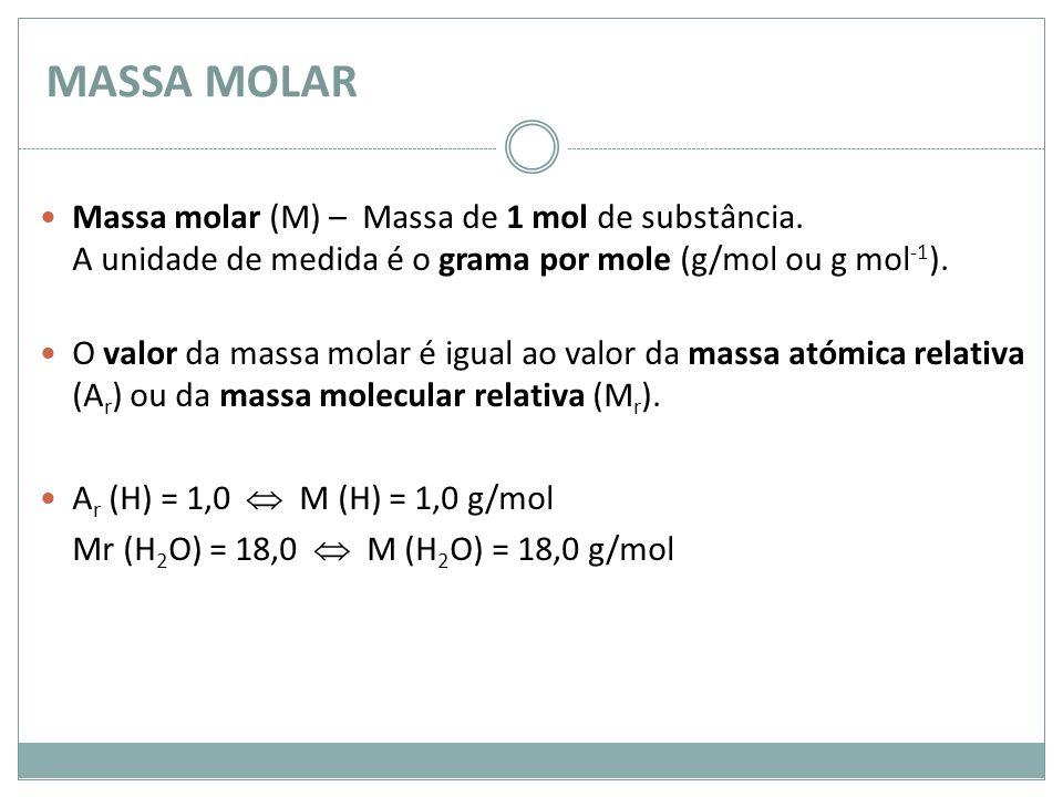 MASSA MOLAR Massa molar (M) – Massa de 1 mol de substância. A unidade de medida é o grama por mole (g/mol ou g mol -1 ). O valor da massa molar é igu