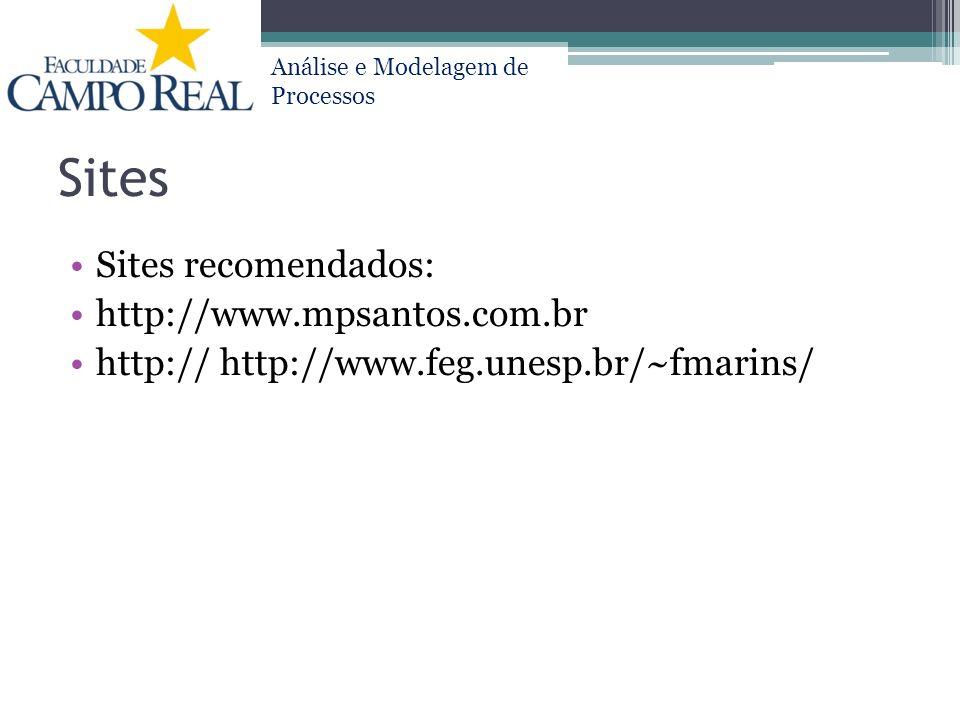 Análise e Modelagem de Processos Sites Sites recomendados: http://www.mpsantos.com.br http:// http://www.feg.unesp.br/~fmarins/
