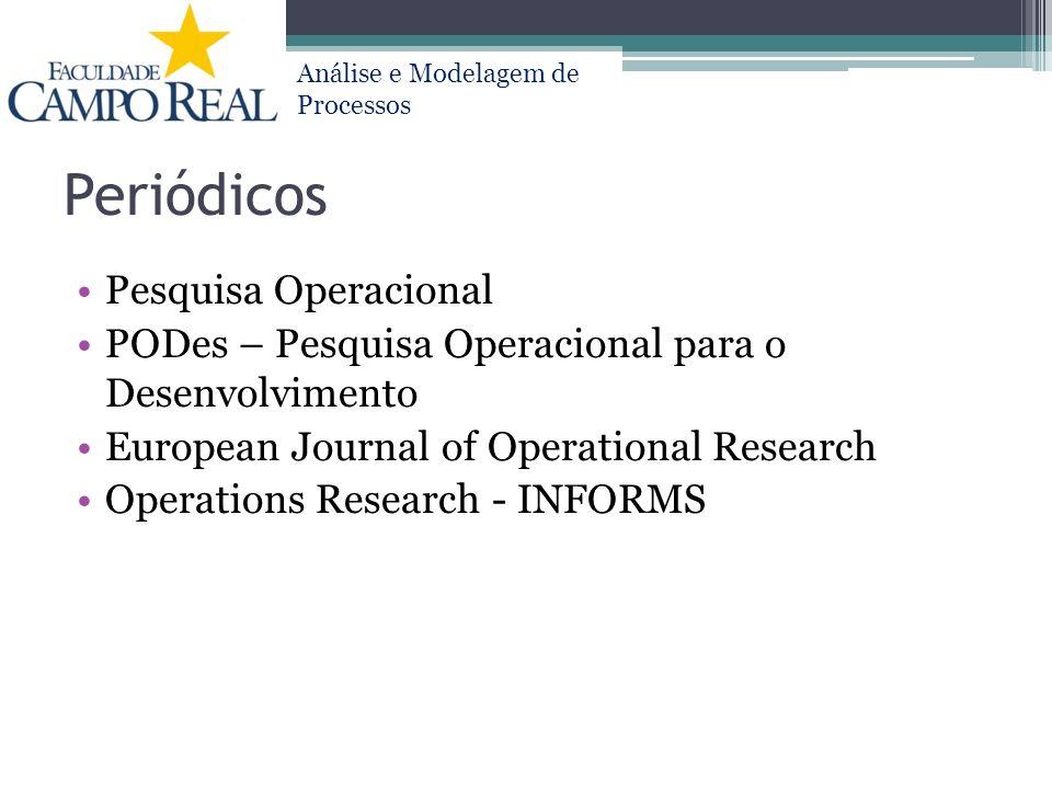 Análise e Modelagem de Processos Periódicos Pesquisa Operacional PODes – Pesquisa Operacional para o Desenvolvimento European Journal of Operational R