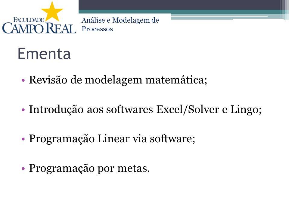 Análise e Modelagem de Processos Ementa Revisão de modelagem matemática; Introdução aos softwares Excel/Solver e Lingo; Programação Linear via softwar