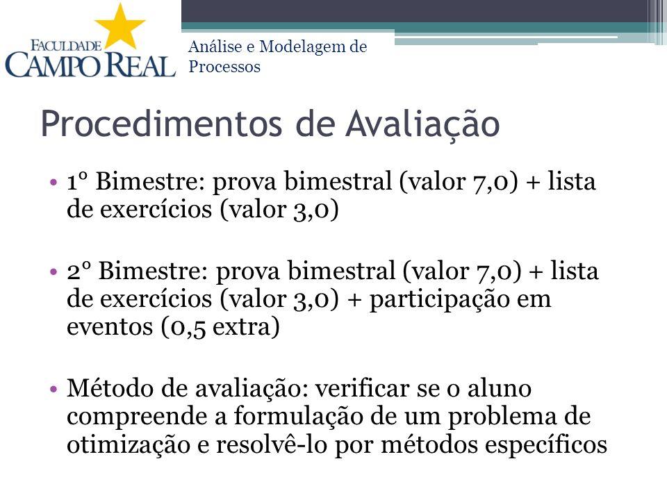 Análise e Modelagem de Processos Procedimentos de Avaliação 1° Bimestre: prova bimestral (valor 7,0) + lista de exercícios (valor 3,0) 2° Bimestre: pr