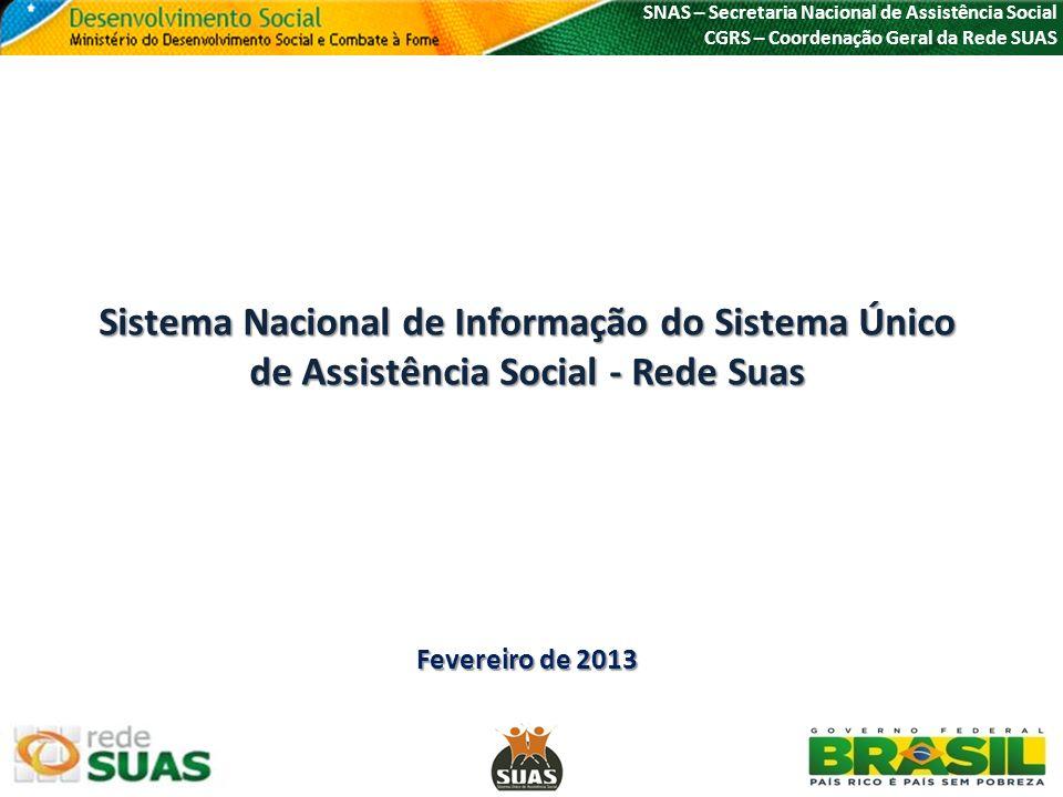 Sistema Nacional de Informação do Sistema Único de Assistência Social - Rede Suas Fevereiro de 2013 SNAS – Secretaria Nacional de Assistência Social C