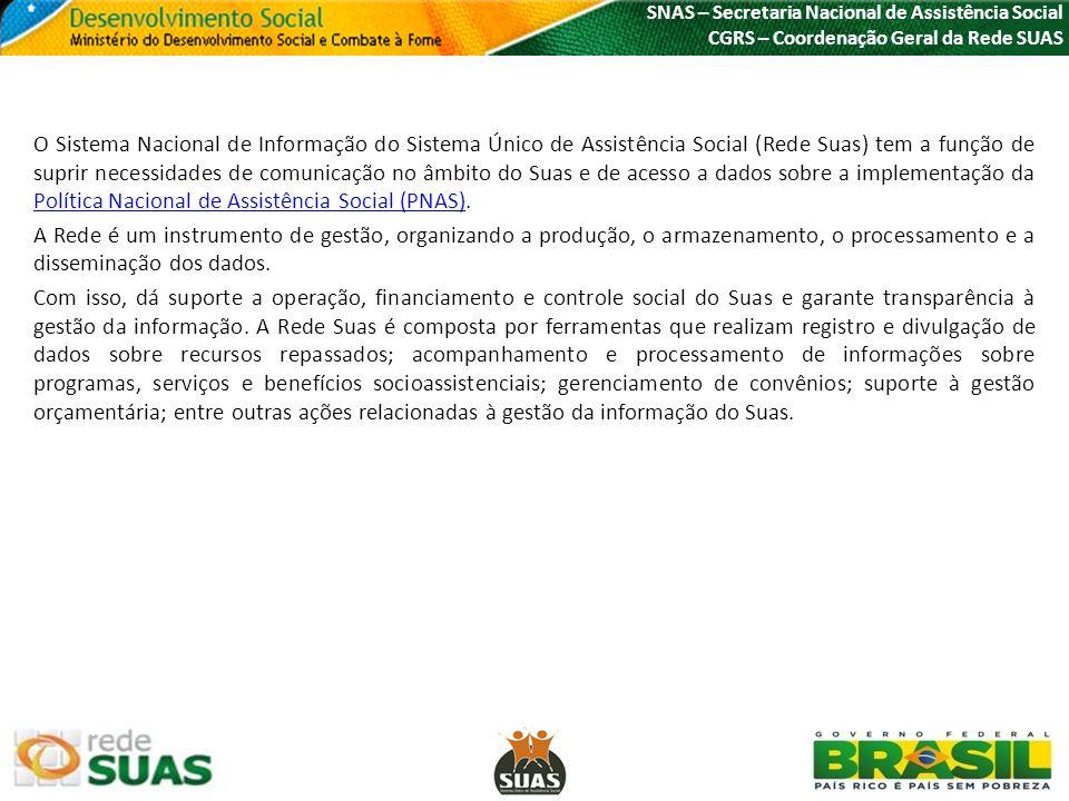 SNAS – Secretaria Nacional de Assistência Social CGRS – Coordenação Geral da Rede SUAS O Sistema Nacional de Informação do Sistema Único de Assistênci