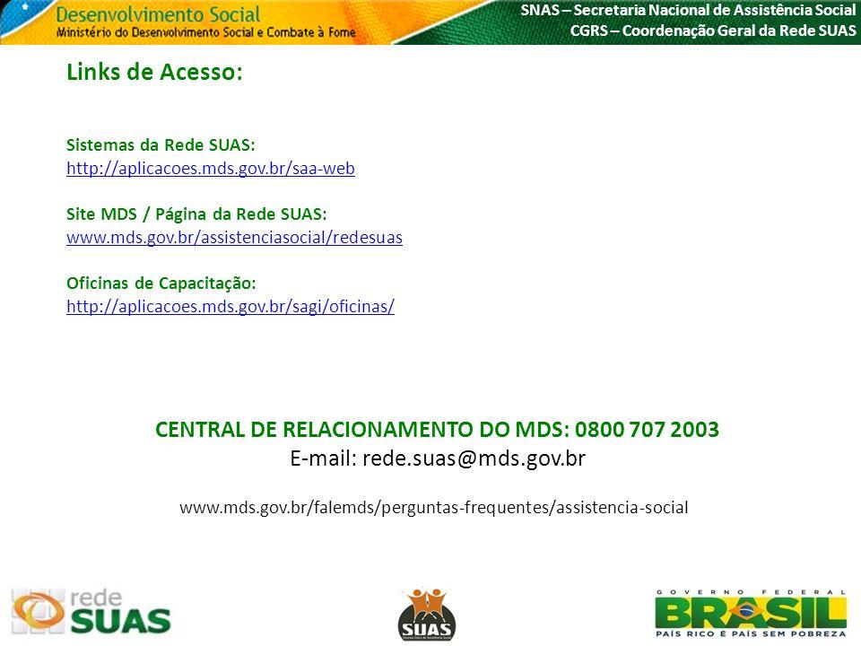 SNAS – Secretaria Nacional de Assistência Social CGRS – Coordenação Geral da Rede SUAS Links de Acesso: Sistemas da Rede SUAS: http://aplicacoes.mds.g