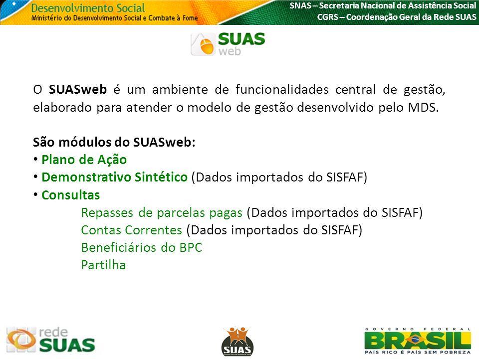 O SUASweb é um ambiente de funcionalidades central de gestão, elaborado para atender o modelo de gestão desenvolvido pelo MDS. São módulos do SUASweb: