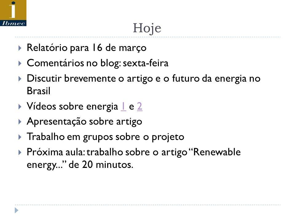 Hoje Relatório para 16 de março Comentários no blog: sexta-feira Discutir brevemente o artigo e o futuro da energia no Brasil Vídeos sobre energia 1 e