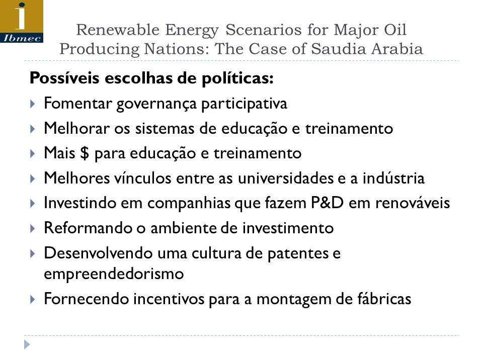 Renewable Energy Scenarios for Major Oil Producing Nations: The Case of Saudia Arabia Possíveis escolhas de políticas: Fomentar governança participati