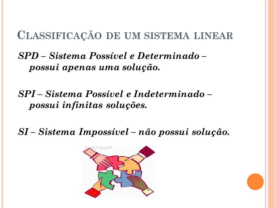 C LASSIFICAÇÃO DE UM SISTEMA LINEAR SPD – Sistema Possível e Determinado – possui apenas uma solução.