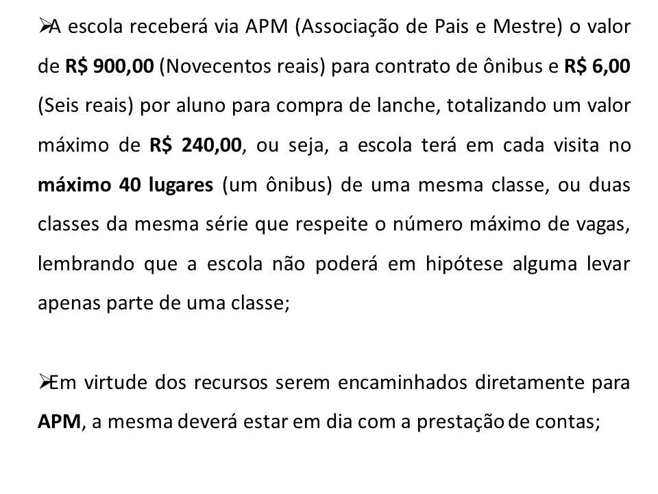 A escola receberá via APM (Associação de Pais e Mestre) o valor de R$ 900,00 (Novecentos reais) para contrato de ônibus e R$ 6,00 (Seis reais) por alu