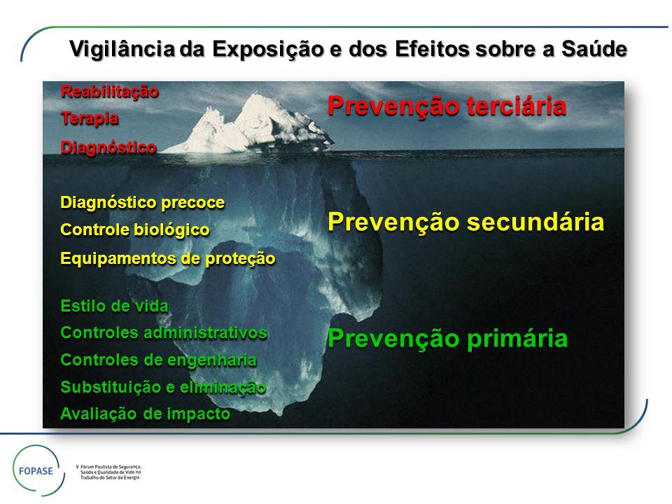 Vigilância da Exposição e dos Efeitos sobre a Saúde Prevenção primária Prevenção secundária Prevenção terciária Avaliação de impacto Substituição e el