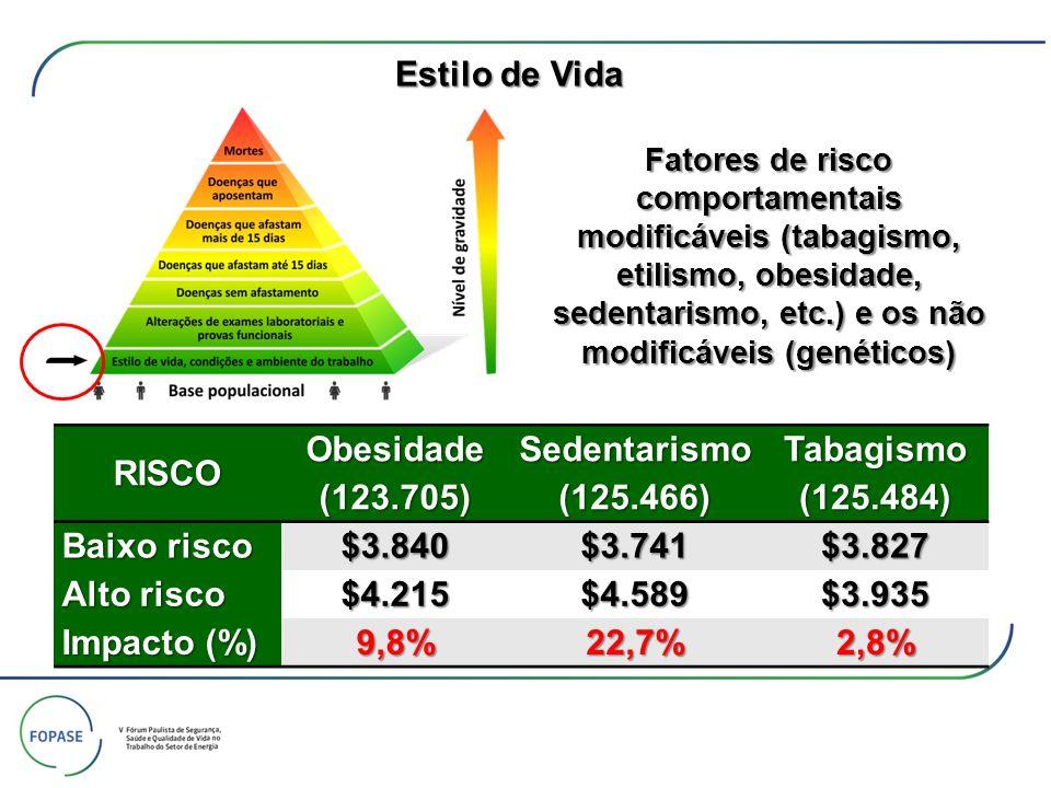 RISCO Obesidade (123.705) Sedentarismo (125.466) Tabagismo (125.484) Baixo risco $3.840$3.741$3.827 Alto risco $4.215$4.589$3.935 Impacto (%) 9,8%22,7