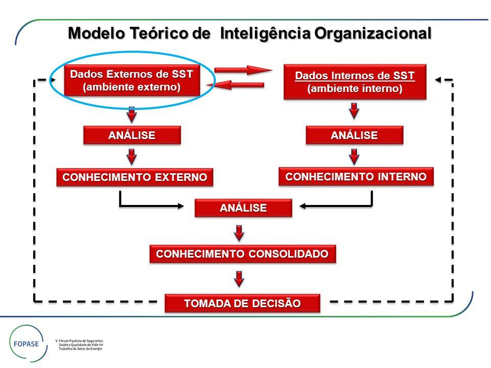 Dados Internos de SST (ambiente interno) Dados Internos de SST (ambiente interno) Dados Externos de SST Dados Externos de SST (ambiente externo) (ambiente externo) Dados Externos de SST Dados Externos de SST (ambiente externo) (ambiente externo)ANÁLISEANÁLISE TOMADA DE DECISÃO ANÁLISEANÁLISEANÁLISEANÁLISE CONHECIMENTO EXTERNO CONHECIMENTO INTERNO CONHECIMENTO CONSOLIDADO Blindagem