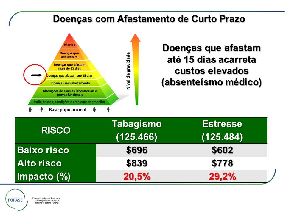 Doenças que afastam até 15 dias acarreta custos elevados (absenteísmo médico) RISCOTabagismo(125.466)Estresse(125.484) Baixo risco $696$602 Alto risco