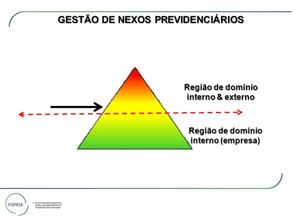 Região de domínio interno (empresa) Região de domínio interno & externo GESTÃO DE NEXOS PREVIDENCIÁRIOS