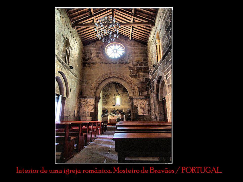 Interior de uma igreja românica. Mosteiro de Bravães / PORTUGAL.