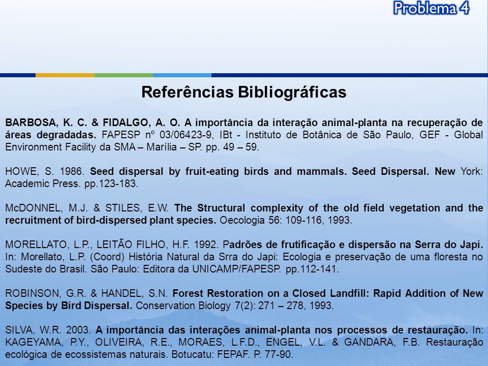 Referências Bibliográficas BARBOSA, K. C. & FIDALGO, A. O. A importância da interação animal-planta na recuperação de áreas degradadas. FAPESP nº 03/0