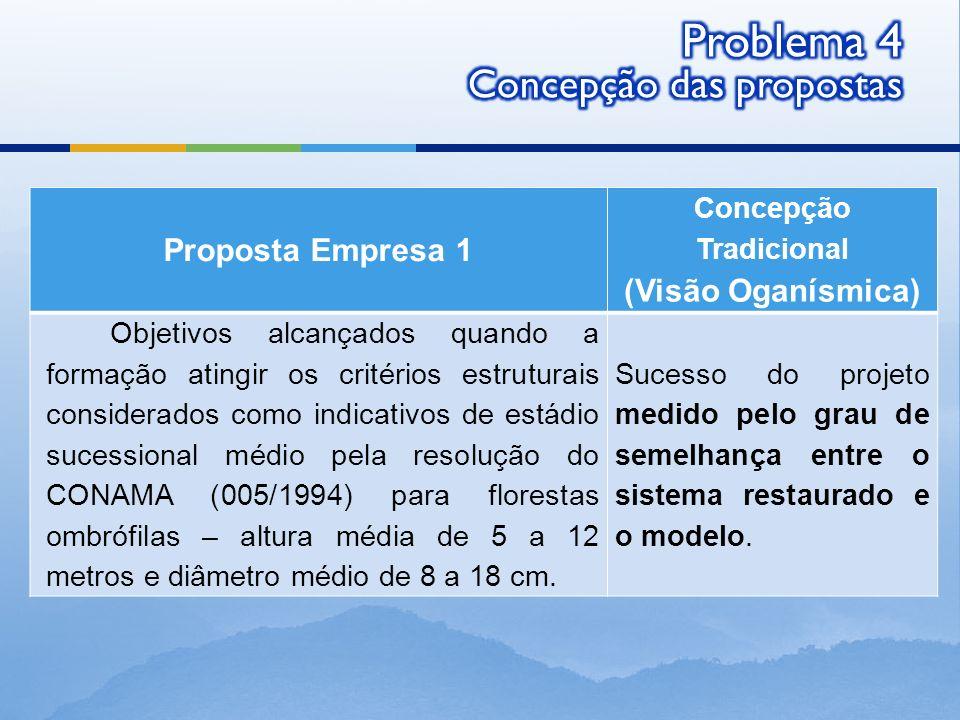 Proposta Empresa 1 Concepção Tradicional (Visão Oganísmica) Objetivos alcançados quando a formação atingir os critérios estruturais considerados como
