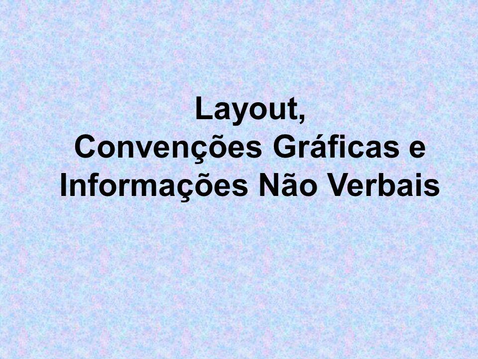 títulos indicados por tamanhos de letra maiores e/ou ênfase; títulos e subtítulos usados para criar uma organização lógica, entalhos e espaços usados para introduzir listas e diagramas.