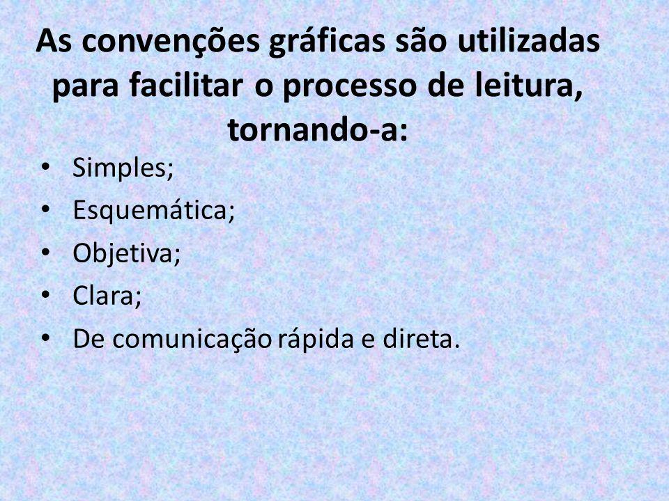 As convenções gráficas são utilizadas para facilitar o processo de leitura, tornando-a: Simples; Esquemática; Objetiva; Clara; De comunicação rápida e direta.