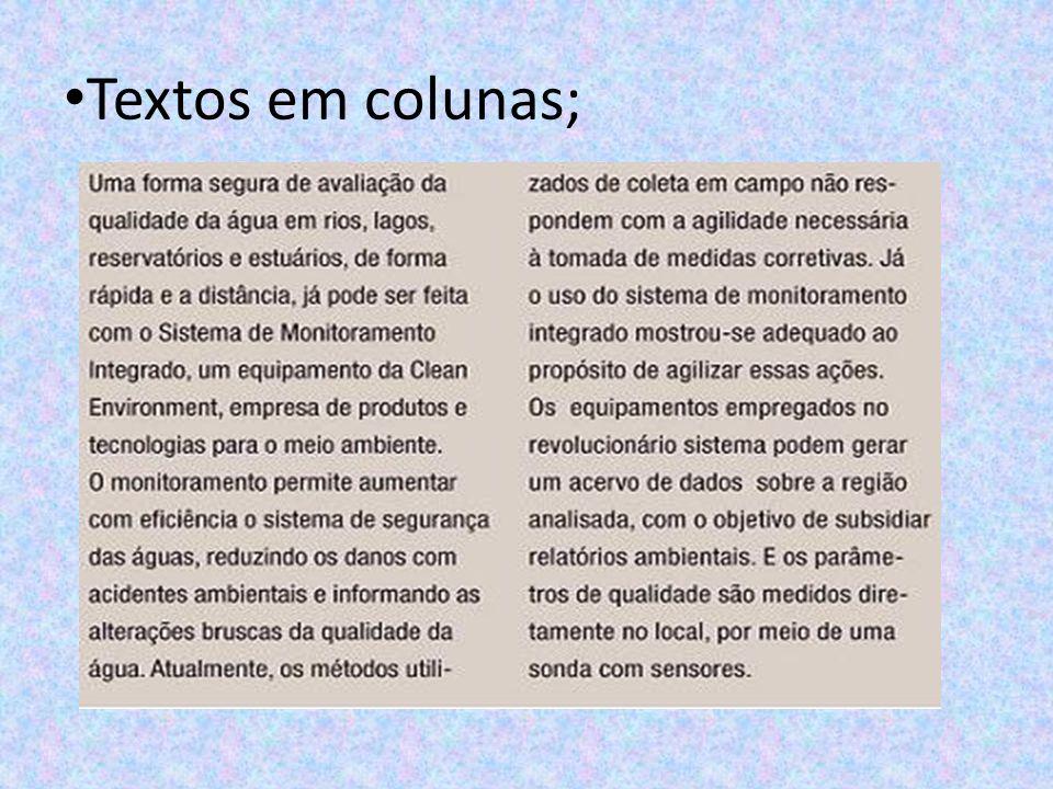 Textos em colunas;