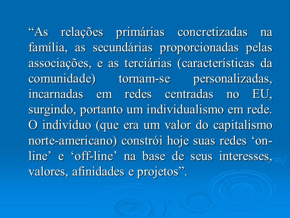 As relações primárias concretizadas na família, as secundárias proporcionadas pelas associações, e as terciárias (características da comunidade) tornam-se personalizadas, incarnadas em redes centradas no EU, surgindo, portanto um individualismo em rede.
