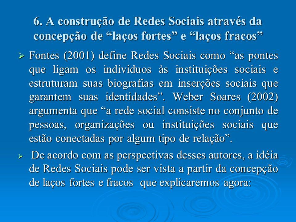 6. A construção de Redes Sociais através da concepção de laços fortes e laços fracos Fontes (2001) define Redes Sociais como as pontes que ligam os in
