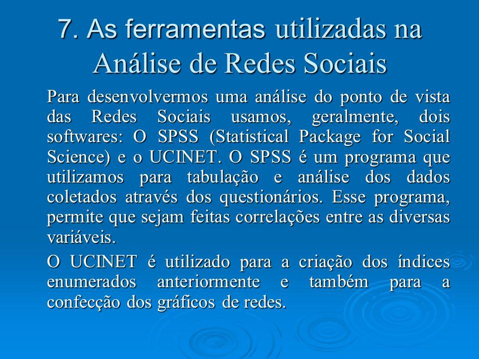 7. As ferramentas utilizadas na Análise de Redes Sociais Para desenvolvermos uma análise do ponto de vista das Redes Sociais usamos, geralmente, dois