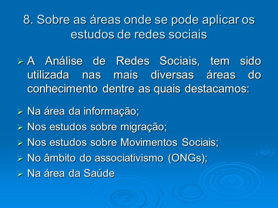 8. Sobre as áreas onde se pode aplicar os estudos de redes sociais A Análise de Redes Sociais, tem sido utilizada nas mais diversas áreas do conhecime