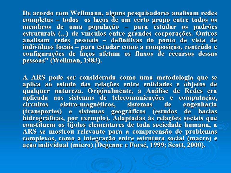 De acordo com Wellmann, alguns pesquisadores analisam redes completas – todos os laços de um certo grupo entre todos os membros de uma população – par