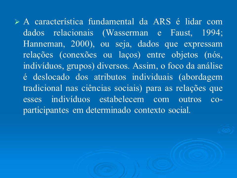 A característica fundamental da ARS é lidar com dados relacionais (Wasserman e Faust, 1994; Hanneman, 2000), ou seja, dados que expressam relações (conexões ou laços) entre objetos (nós, indivíduos, grupos) diversos.