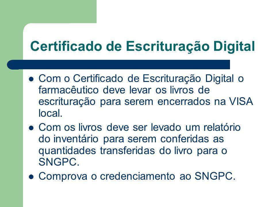 Certificado de Escrituração Digital Com o Certificado de Escrituração Digital o farmacêutico deve levar os livros de escrituração para serem encerrados na VISA local.