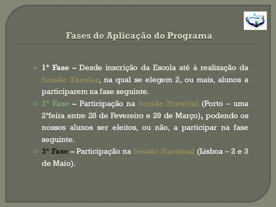 1ª Fase – Desde inscrição da Escola até à realização da Sessão Escolar, na qual se elegem 2, ou mais, alunos a participarem na fase seguinte. 2ª Fase