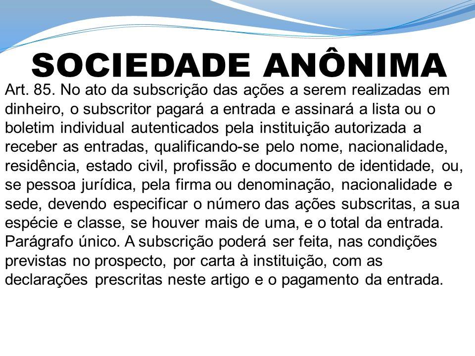 Convocação de Assembleia Art.86.