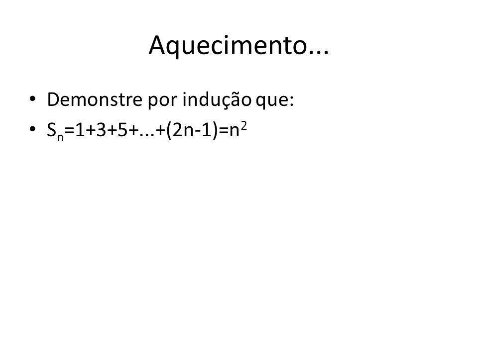 Aquecimento... Demonstre por indução que: S n =1+3+5+...+(2n-1)=n 2