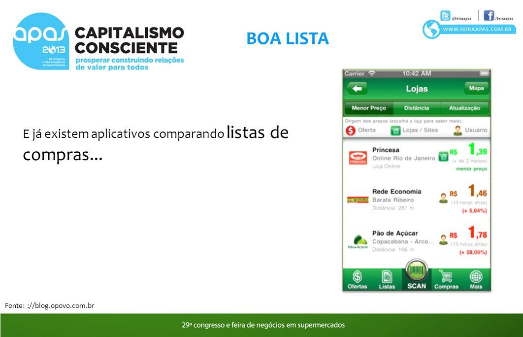 BOA LISTA E já existem aplicativos comparando listas de compras... Fonte: ://blog.opovo.com.br