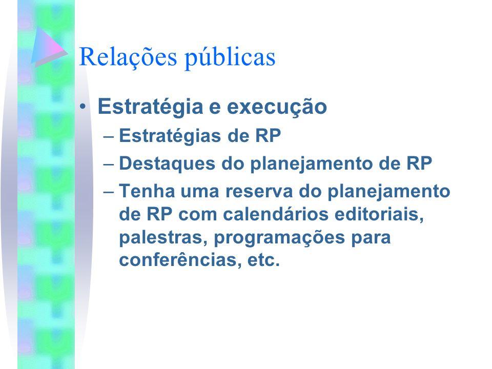 Relações públicas Estratégia e execução –Estratégias de RP –Destaques do planejamento de RP –Tenha uma reserva do planejamento de RP com calendários editoriais, palestras, programações para conferências, etc.