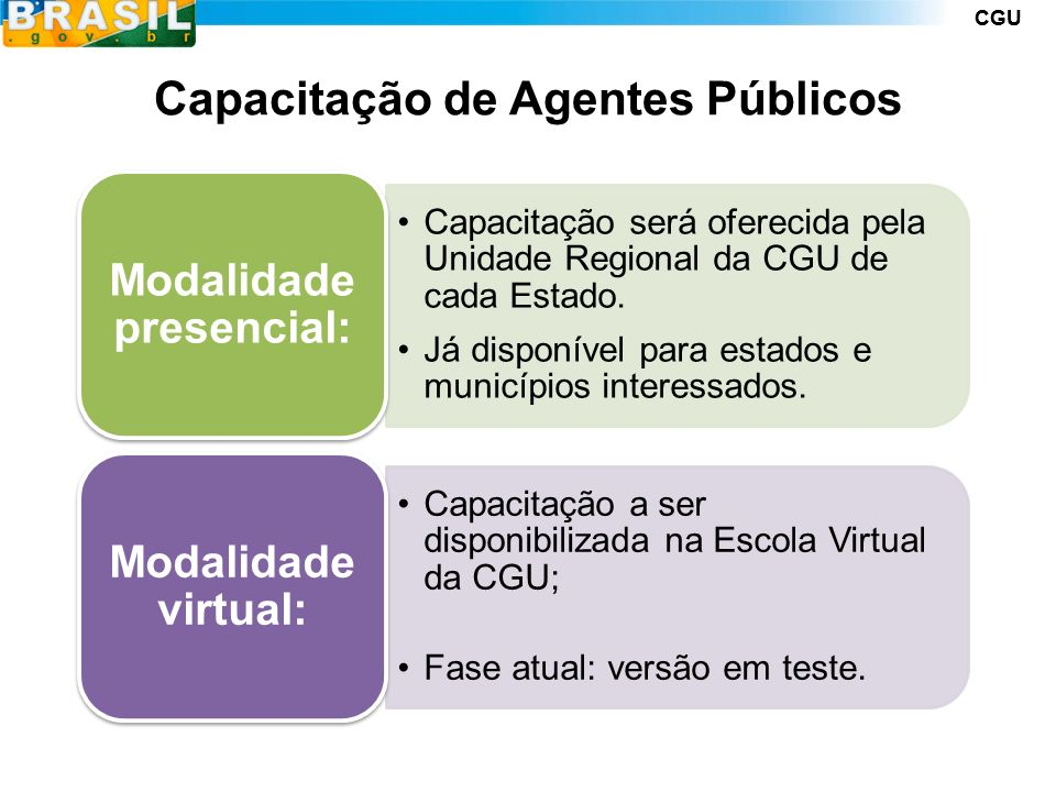 CGU Capacitação de Agentes Públicos Capacitação será oferecida pela Unidade Regional da CGU de cada Estado.