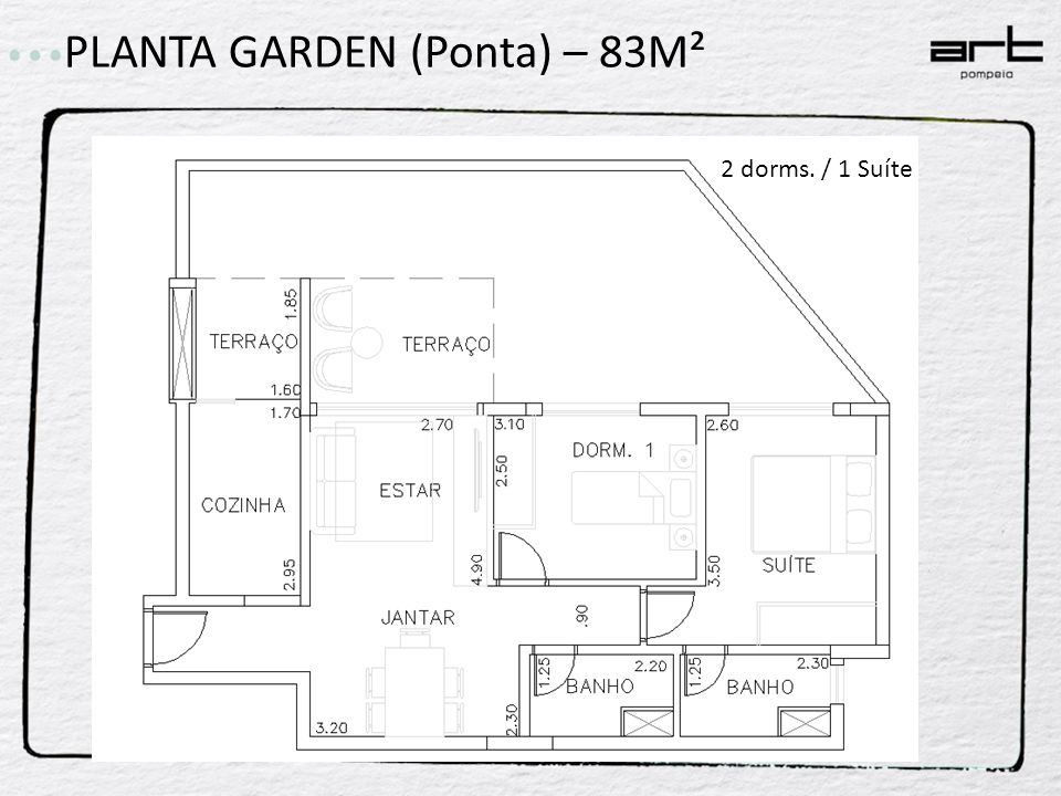 PLANTA GARDEN (Ponta) – 83M² 2 dorms. / 1 Suíte