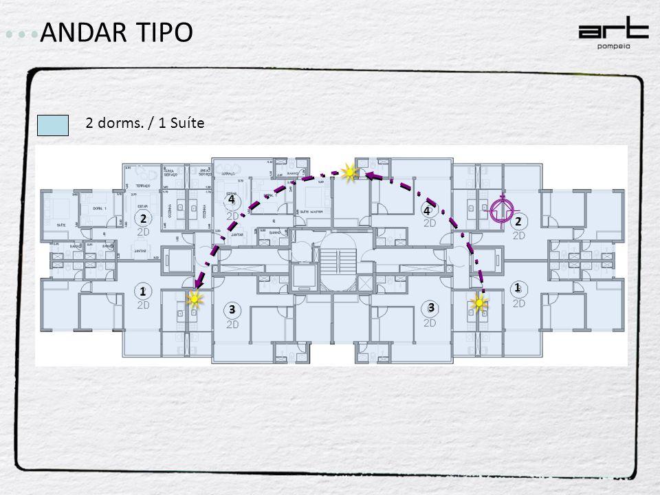 ANDAR TIPO 2 dorms. / 1 Suíte 2 4 1 3 4 2 3 1