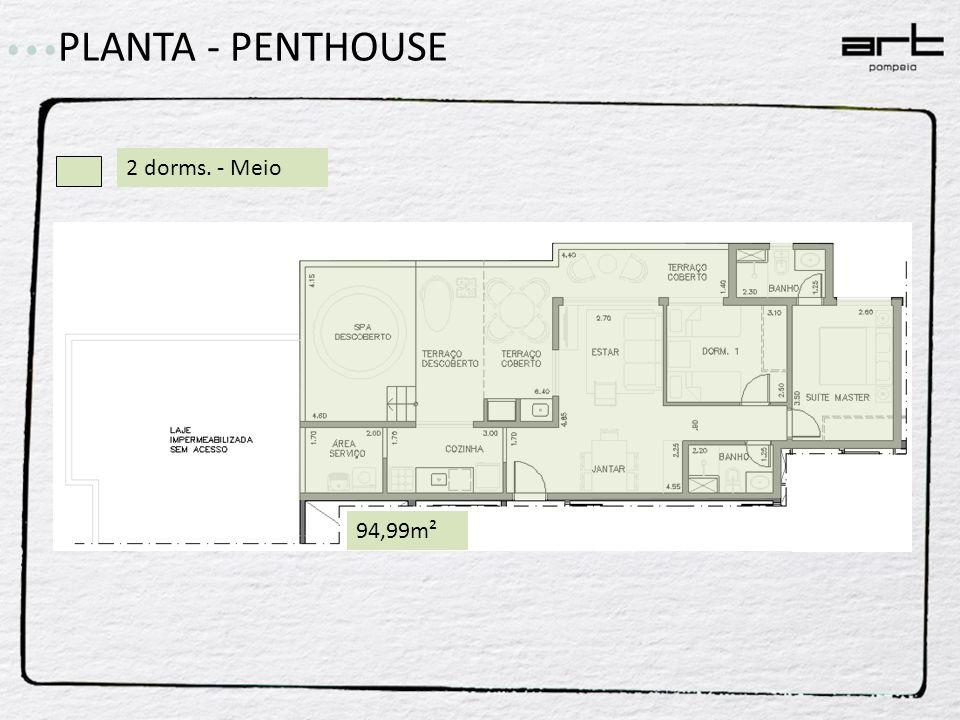 2 dorms. - Meio 94,99m² PLANTA - PENTHOUSE